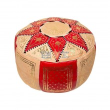 Leather Fassi Pouf in ivory and red
