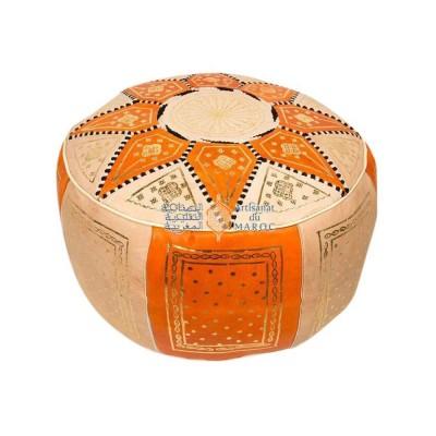 Pouf fassi en cuir ivoire et orange