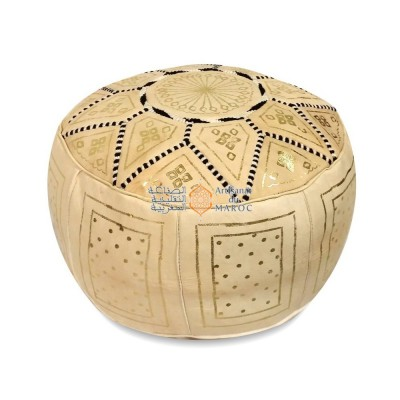 Leather Fassi Pouf in ivory
