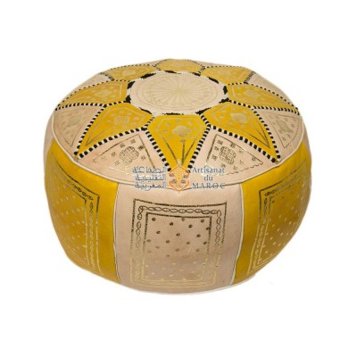 Pouf fassi en cuir ivoire et jaune