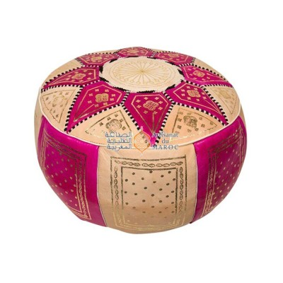 Leather Fassi Pouf in ivory and fuschia